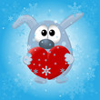funny animals on the winter background