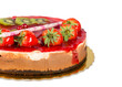 Strawberry cake with jelly topping and figs, isolated