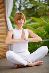 Middleaged woman at Yoga