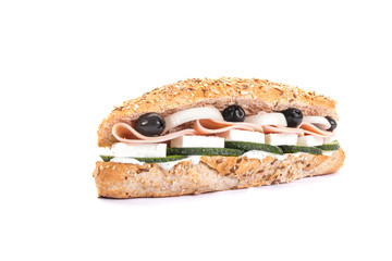Baguette mixed with salami and vegetable