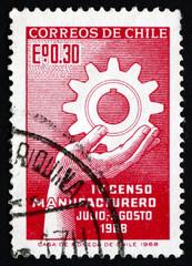 Postage stamp Chile 1968 Hand Holding Cogwheel