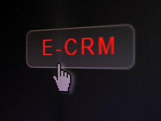 Business concept: E-CRM on digital button background