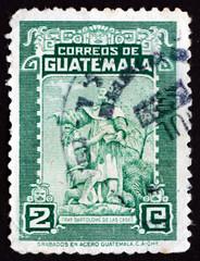 Postage stamp Guatemala 1949 Bartolome de las Casas and Indian