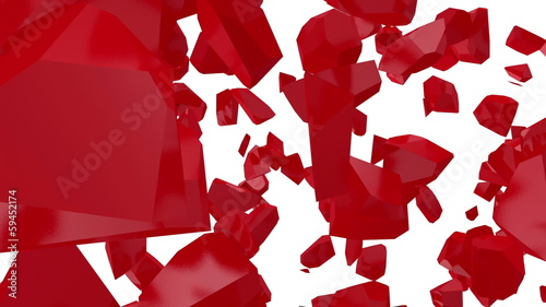 Red Heart Made From Many Small Pieces. HQ Video Clip with Alpha