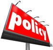 Policy Word Billboard Sign Following Rules Compiance Guidelines