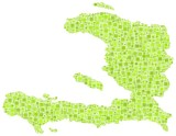 Decorative map of Haiti - America - in a mosaic of green squares