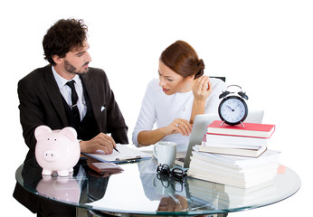 Stressed couple looking on bank statement. Bankruptcy