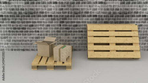 Brick wall background with cardboard boxes and pallets