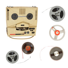 Vintage recorder and magnetic tape isolated on white background