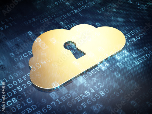 Cloud computing concept: Golden Cloud With Keyhole on digital