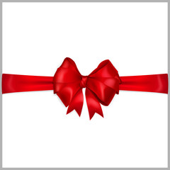 Red bow with horizontal ribbons