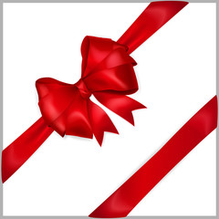 Red bow with diagonally ribbons