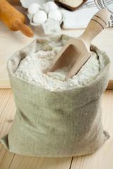 Flour in canvas bag