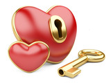 red valentine heart  with a keyhole and key.