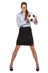 Young woman with a soccer Ball