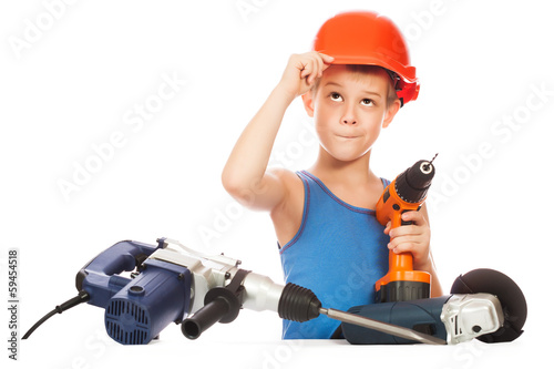 little kid with electric screwdriver