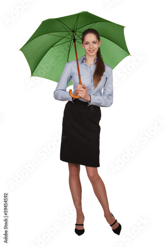 Pretty happy girl with big umbrella