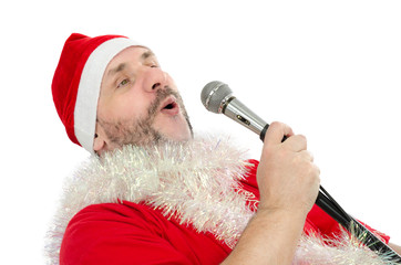 Happy Santa sings jingle bells