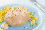 Jacket Potato - Baked potato topped with tuna and sweetcorn.