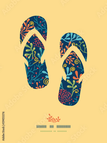 Vector dark plantsflip flops decor pattern background