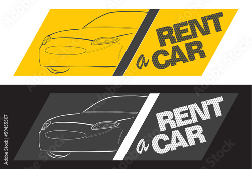 rent a car yellow banner