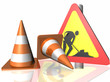 cones traffic road works sign