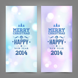 Merry Christmas and Happy New Year card with Typography