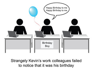 Kevin celebrated his birthday at work cartoon