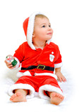 little boy dressed as Santa Claus on a white background