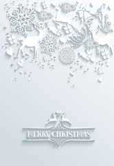 White Merry Christmas and Happy New Year #greeting card