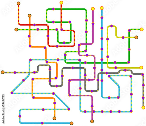 fictional public transport subway map, vector illustration