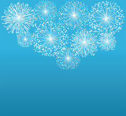 vector white fireworks on blue background