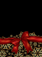holiday background with satin ribbon