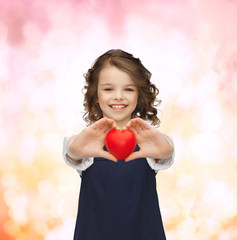 beautiful girl with small heart