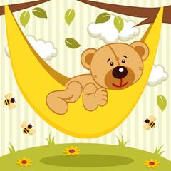 teddy bear on hammock - vector illustration