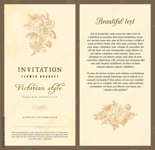 Set of vintage vector vertical invitation