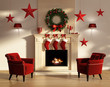 Red and white Christmas interior with fireplace