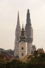 St Mary church tower in between two towers of Zagreb cathedral