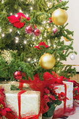 Christmas Tree with Decorations and Wrapped Gifts