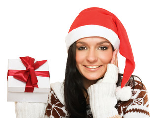Woman in santa hat with gift,isolated on white background