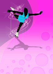 Skater girl, ice dance background