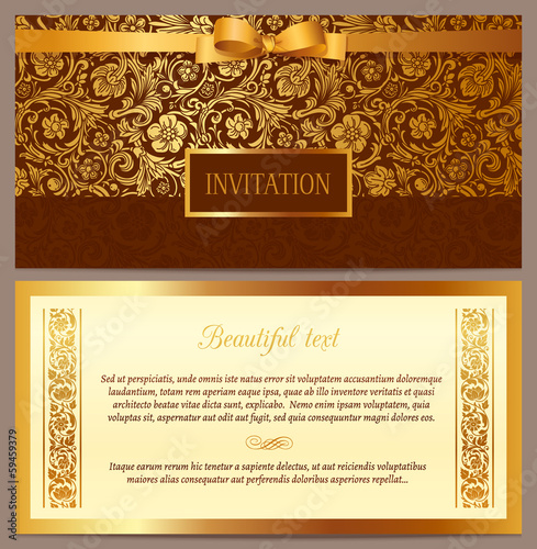 Set of vector vintage luxury invitation with baroque pattern