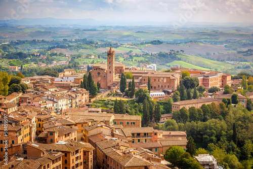 Aerial view over city of Siena - 59459597