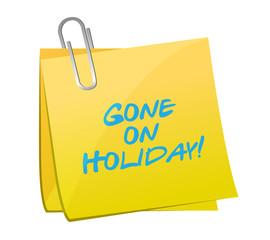 gone on holiday post. illustration design