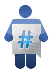icon holding a message bubble with a hashtag.