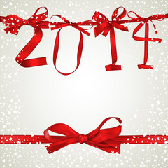New Year 2014 red ribbon greeting card
