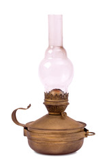Old hurricane lamp isolated