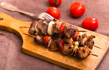 Barbecue meat on skewers