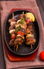 Barbecue on wooden skewers vertical