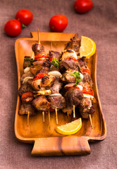 Meat with vegetables on skewers